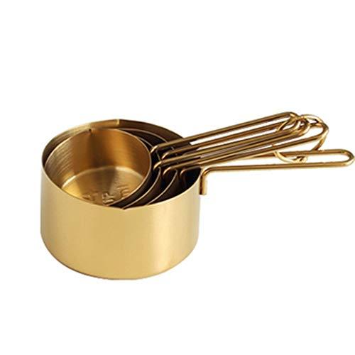ZHYP Küchenwaage 4Pcs Edelstahl Messing Cup Set Gold Messen Cups Kaffee Scoop Löffel Messen Löffel Kochwerkzeuge,Gold