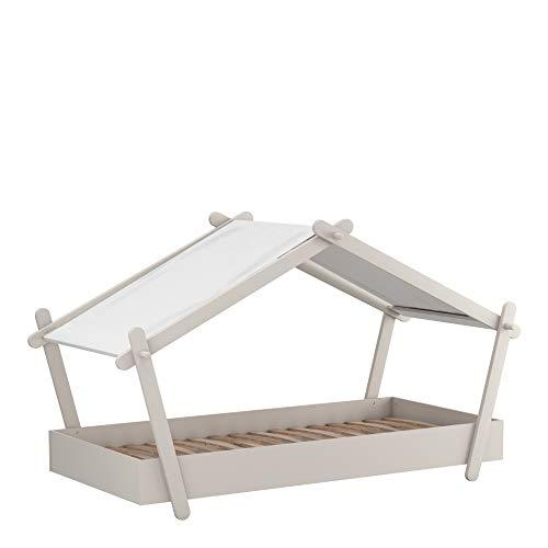 Demeyere – Cama Individual – Formato de cabaña Tipi-Ideal para la habitación de tu niño – Colección Lodge, Gris Claro, 102,2 x 223,2 x 129,7 cm