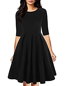 oxiuly Women s Vintage Half Sleeve O-Neck Contrast Casual Pockets Party Swing Dress OX253  XXL Black Solid