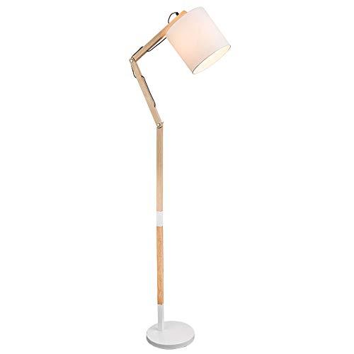 Steh Leuchte Holz Strahler Textil Stand Lampe Höhe verstellbar Wohn Zimmer Beleuchtung Globo 21510S