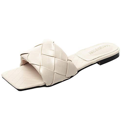 Nwarmsouth Schnelles Trocknen Bad Hausschuhe,Geflochtene Hausschuhe mit quadratischen Zehen und Flip-Flops, die Sie im Sommer im Freien tragen können,Unisex-Erwachsene Badeschuhe