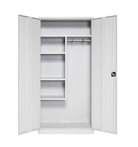 Furni24 Metall Putzmittelschrank – Wäscheschrank aus Stahl mit Türen,Dreipunktverriegelung incl. 2 Schlüsseln, Garderobenstange, großen Fächern, Hutablage, fertig montiert - Grau, XXL 92 x 195 x 42 cm