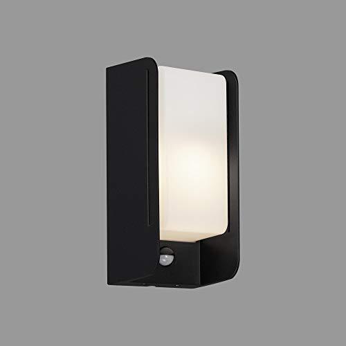 Briloner Leuchten - LED Außenleuchte, Außenlampe, Außenwandlampe inkl. Bewegungsmelder, Dämmerungssensor, IP44, 1x E27, max. 12 Watt, Weiß/Schwarz, 255x120x100mm (LxBxH), 3017-015