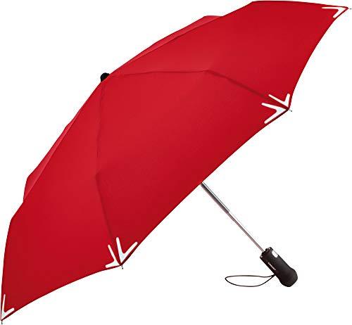 FARE Mini-Taschenschirm Safebrella® LED rot weiß, Taschenlampe Blinklicht im Griff, handlich und flexibel, windsicher und hochstabil (Rot)