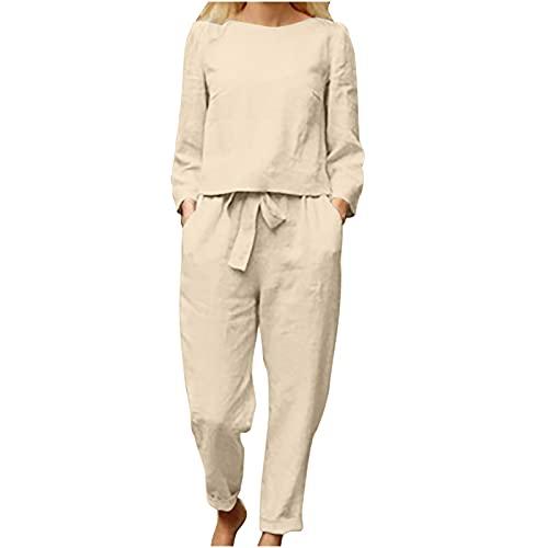 Laibory Cotton Linen 2 Piece Outfits for Women Solid Color Crewneck Long Sleeve Tops Loose Fit Bow Pocket Pants Set Soft Suit Beige