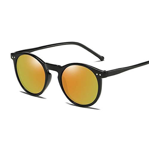 YOULIER Gafas de sol polarizadas para hombres y mujeres, gafas de sol redondas vintage masculinas femeninas naranja-amarillo