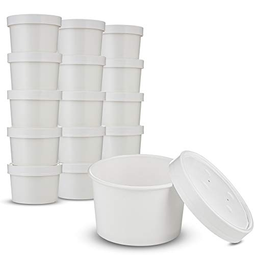 Double Wall White Poly Paper Hot Cups for Hot Food and Soup or Cold Ice Cream with Vented Paper Lids to Prevent Leaks by MT Products - (20 Cups and 20 Lids) (12 Ounce)