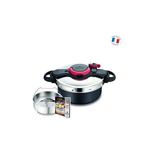 SEB p4605106Asia Clipso minut Duo Olla a presión 5L cubeta Coloris Libro de Recetas asiáticos inducción, Aluminio, Negro, 39x 29,5x 19cm