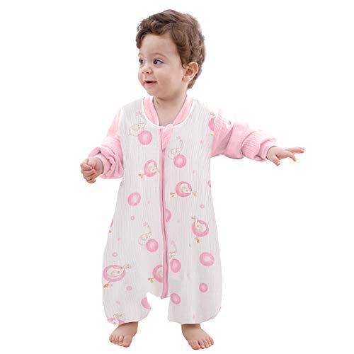 Pijama de Algodón, Peleles para Bebés, Saco de Dormir para Bebés-Saco de Dormir para Bebés con Mangas Extraíbles para Bebés Niños de 1.5-2.5 años de 85 a 95 cm (Rosa)