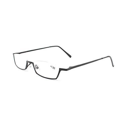 Ultraleichte Rechteckige Lesebrille aus Metallrahmen mit Halbrahmen Lesehilfe mit Federscharnieren Sehehilfe für Damen und Herren(Schwarz,+2.0)