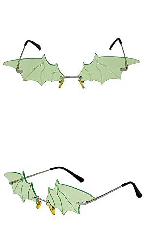 ASZX Gafas de Sol Frescas de la decoración de murciélagos de murciélagos pequeños Gafas de sombrilla Personalidad Personalidad 622 (Frame Color : Gold, Size : Green)