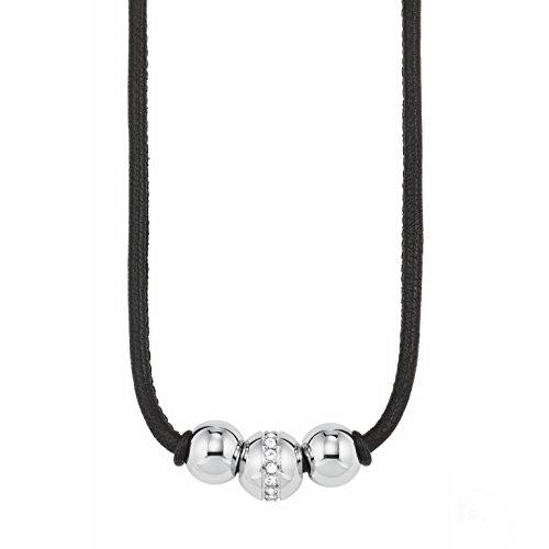 s.Oliver Halskette für Damen aus Leder mit Swarovski® Kristallen