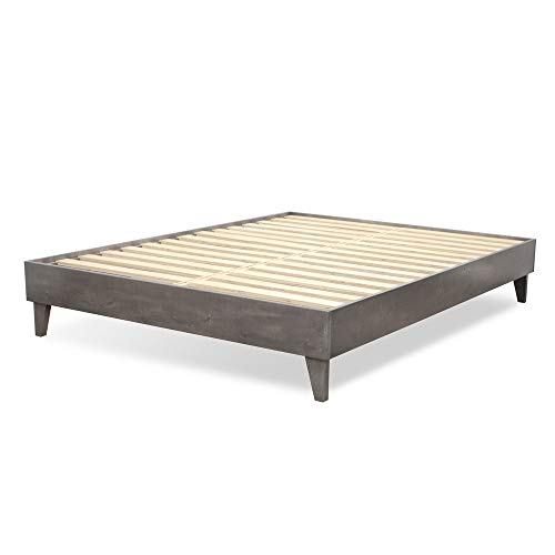 eLuxurySupply Wood Bed Frame - 100% North American Pine - Solid Mattress Platform Foundation w/Pressed Pine Slats - Easy Assembly - Queen