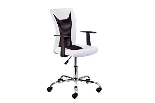 Inter Link Drehstuhl Bürostuhl Kinderdrehstuhl höhenverstellbar mit Armlehnen in Weiss und Schwarz