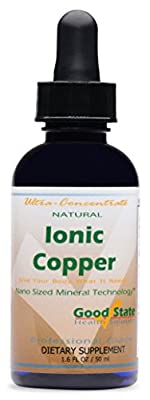Good State   Natural Ionic Copper 1.6 oz   Liquid Concentrate   Nano Sized Mineral Technology   Professional Grade Dietary Supplement   Supports Healthy Growth & Development   1.6 Fl oz Bottle (50 mL)