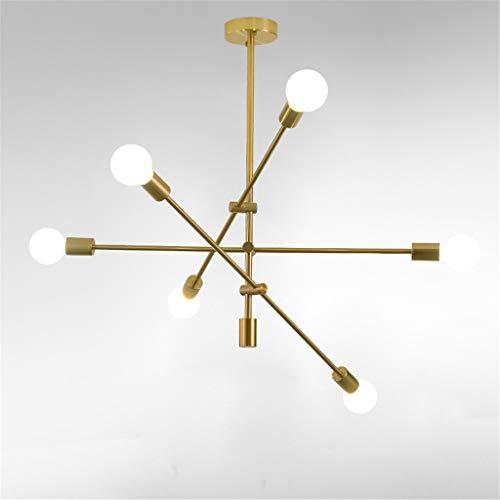 MQW Candeliere Mobile a 2/4/6 luci Moderne plafoniere in Ottone luci a Sospensione in Oro per Camera da Letto corridoio Lampada a Sospensione [Classe energetica A],6heads