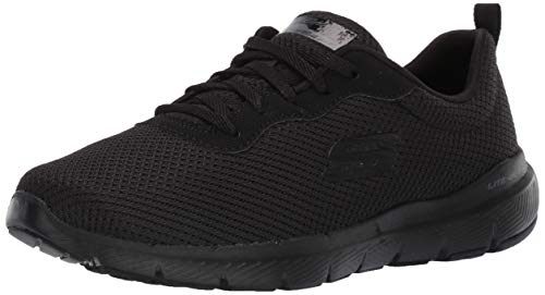 Skechers Women's Flex Appeal 3.0-first Insight Trainers, Black (Slate Leather/Mesh/Lt Pink Trim Bbk), 4 UK (37 EU)