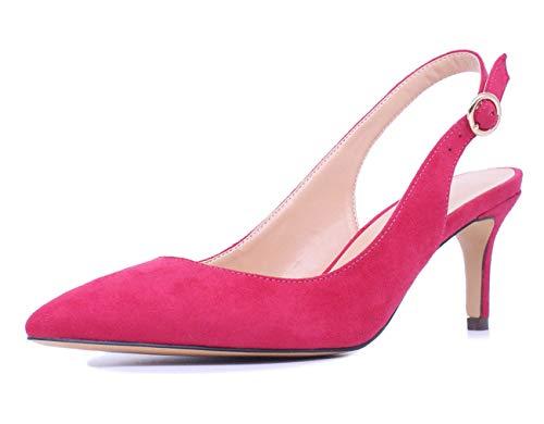 CASTAMERE Scarpe col Tacco Donna Gattino Cinturino Regolabile Tacco a Spillo Sandali 6.5CM Rosso Pesche Scamosciato Scarpe EU 44
