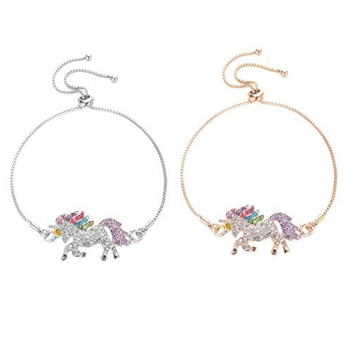JIEERCUN 2 Pulsera de aleación Duradera en Forma de joyería de Diamantes de imitación para Damas y niñas para Decorar Pulseras brazaletes (Color : A)