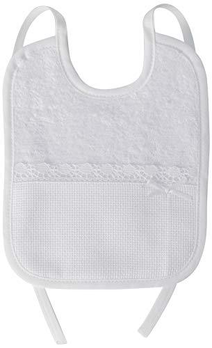 FILET - Babero de rizo para bordar con bolsillo de tela Aida, blanco