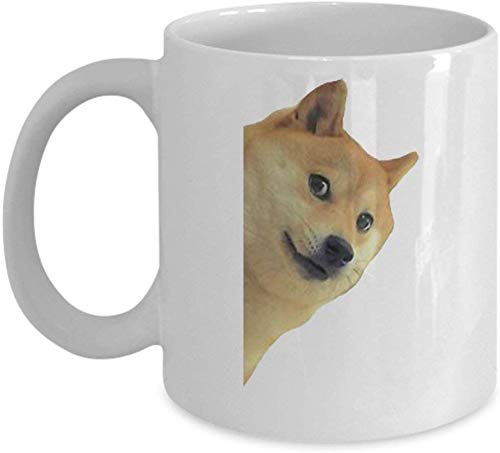 Doge Coffee Mug Cup (White) 11oz Doge Dog Pet Animal Gifts Merchandise Accessories Shirt Poster Sticker Pin Vinyl Decal Artwork Decor Novelty Dank Mem