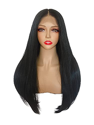 Joe Green HD Lace Frontal Wig Synthetic Melt Pre-Plucked Hair (Long, Natural Black 13x5 Frontal Long Straight)