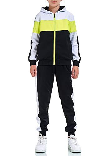 XRebel Kinder Junge Jogginganzug Sportanzug Modell W32 (36-Schwarz mit Neon Gelb, 164-170(16), numeric_164)