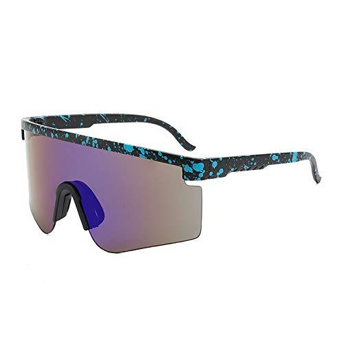 Gafas De Sol Polarizadas para Hombres Lente Liviana De Moda, Morado, Puntos Azules, Negro, Medio Marco, Gafas De Sol, Gafas De Ciclismo para Exteriores, Deportes, Conducción, Ciclismo, Gafa