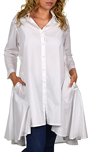 Dare2BStylish Hi Low Button Down A Line Swing Dress Shirt Top Reg and Plus Sizes White