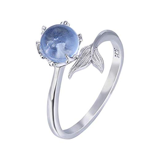 ZRABCD Rings Mermaid Ring Blue Crystals Tail Ring,Women Girls Fashion Exquisite Jewelry Gifts Accessories/Silver/Adjustable