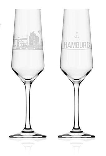I LOVE Hamburg Sektglas 2er Set   Sektglas, Champagnerglas, Proseccoglas mit der Hamburg Skyline   Souvenir Deutschland   Geschenkidee Muttertag, Vatertag   Geschenkbox Deutschland   MADE IN GERMANY