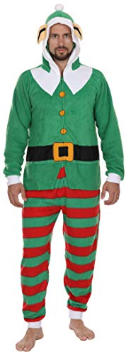 Secret Santa Adult Mens Womens Christmas Holiday Elf Onesie Pajama, Green, Size Large/X-Large
