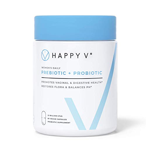 Happy V - Vaginal Probiotics for Women - Prebiotic Fiber & Vaginal Health Probiotics for Bacterial Vaginosis & Yeast Infection - Clinically Proven Safe & Effective pH Balance for Women -30 Day Supply