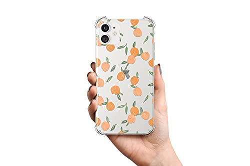 Fubido Peach Pattern Designed for iPhone 11 Case,Clear Case with Design Girls Women for iPhone 11,TPU Bumper with Tempered Glass Screen Protector for iPhone 11