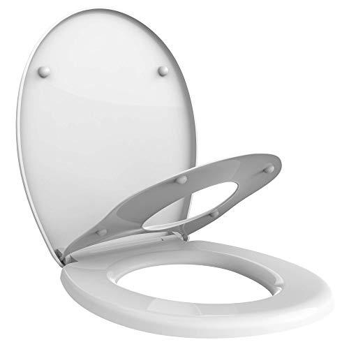 Todeco - Siège de Toilette Familial, Siège de Toilette Réducteur pour Enfant, Abattant WC, Lunette de Toilette, Diamètre du siège pour Adulte: 29 x 23,5 cm - 44,8 x 37,1 cm, Forme en O