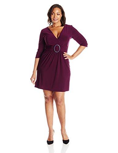 Star Vixen Women's Plus-Size 3/4 Sleeve O-Ring Dress, Solid Purple, 2X