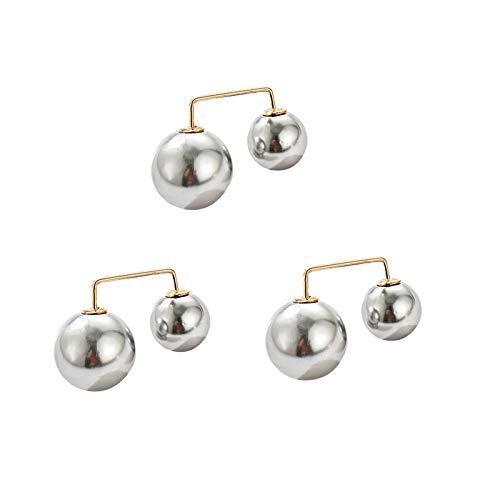 Ruby569y - Broche de chal de seguridad con perlas de imitación, 3 unidades, con estilo, estilo vaquero, bolsa...