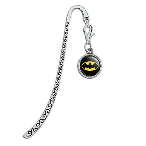 Batman Classic Bat Shield Logo Metal Bookmark Page Marker with Charm