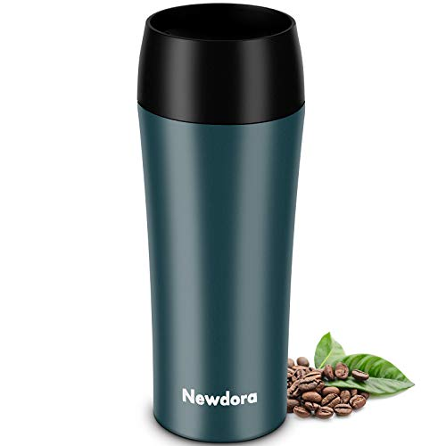 Newdora Thermobecher,Kaffee to go 380ml Becher Travel Mug Isolierbecher Kaffeebecher BPA-frei, Auslaufsicher Reisebecher für Kaffee,Tee,Trinkflasche für Reisen,Arbeit,Schule,Fahren (Dunkelgrün)