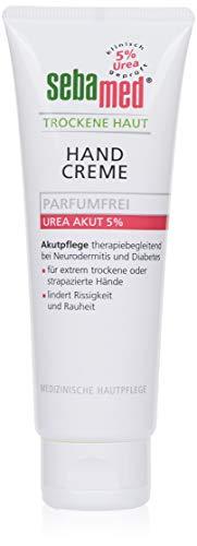 Sebamed Trockene Haut Urea Akut 5% Handcreme parfumfrei 75 ml, pflegt extrem trockene und strapazierte Hände, lindert Rissigkeit und Rauheit
