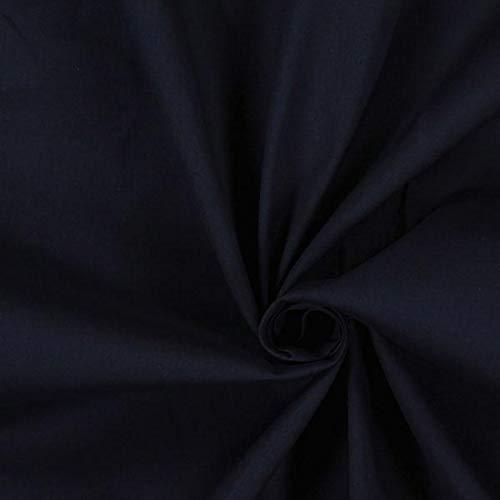 Popeline Stoff Stretch – navy — Meterware ab 0,5m — zum Nähen von Blusen/Hemden, Hemden und Tops/T-Shirts