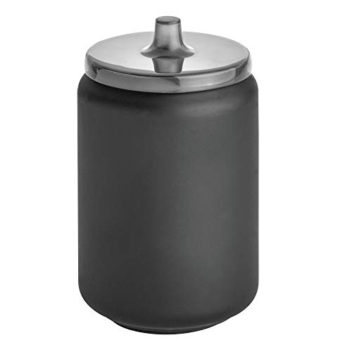 Price comparison product image iDesign Austin Bathroom Storage,  Lidded Canister for Personal Items,  Metal Cotton Pad Holder,  Matte Black,  Stainless Steel 8.9 cm in diameter x 14.6 cm