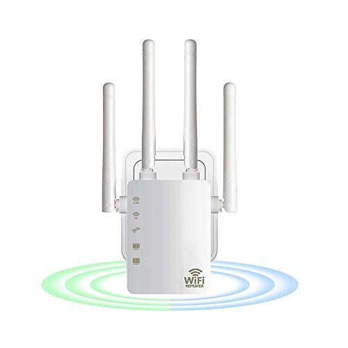 Iriisy 1200Mbps Repetidor WiFi, Amplificador Señal 2.4Ghz/5Ghz, Extensor de Red Inalámbraico, Banda Dual con 4 Antenas Externas Largo Alance, con Puerto Enthernet