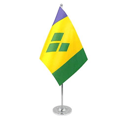 Drapeau de table St Vincent et les Grenadines en satin et chrome