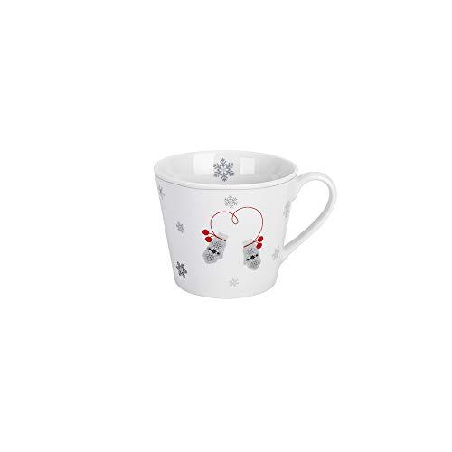 Krasilnikoff - Becher, Tasse mit Henkel - Happy Cup - Wintertasse - Schlittschuhe und Handschuhe - weiß, grau, rot - ca. 400 ml - Höhe: 9 cm