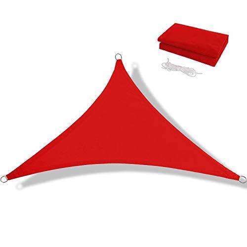 JJIIEE Toldo Triangular, 95% de Bloque UV, Impermeable, Parasol, Vela con 3 Cuerdas, Protector Solar para Fiestas en el jardín al Aire Libre, Patio, toldo,Rojo,3 x 3 x 3m