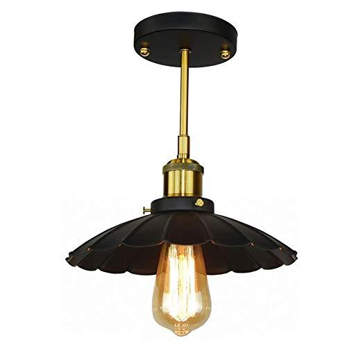 Plafondlamp, vintage, retro, industrieel design, kleine paraplu, plafondlamp, van metaal, zwart B Zwart