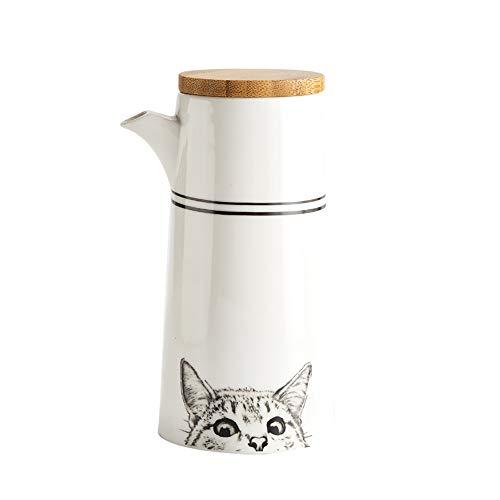 Dispensador de aceite de mesa, dispensador de vinagre de salsa de soja de cerámica con tapa de botella de madera para cocinar, blanco, 500 ml