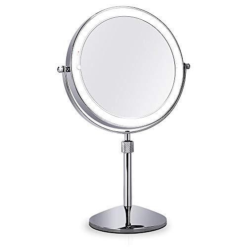 RXX666 Espejo Maquillaje LED, Aumento x1(x3x5x7x10) Espejos cosmético encimera con la Ventosa Fuerte, Flexible Ajustable 360 °, Iluminado de Baño para Cosmético y Afeitar,8 Pulgadas.