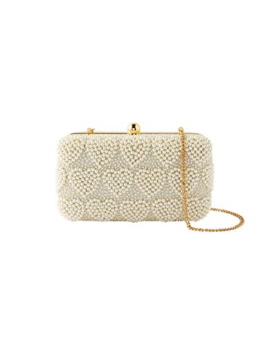 Accessorize Pearly Heart Hardcase Clutch Bag Women Evening Party Handbag